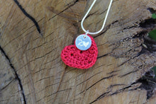 Load image into Gallery viewer, 2nd anniversary cotton necklace - red heart and tag