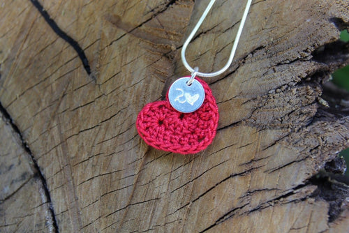 Red cotton heart necklace with tag 2nd wedding anniversary gift