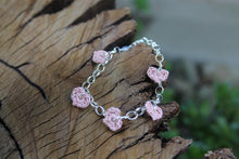 Load image into Gallery viewer, 2nd anniversary bracelet - five pink cotton hearts