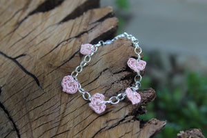 2nd anniversary bracelet - five pink cotton hearts