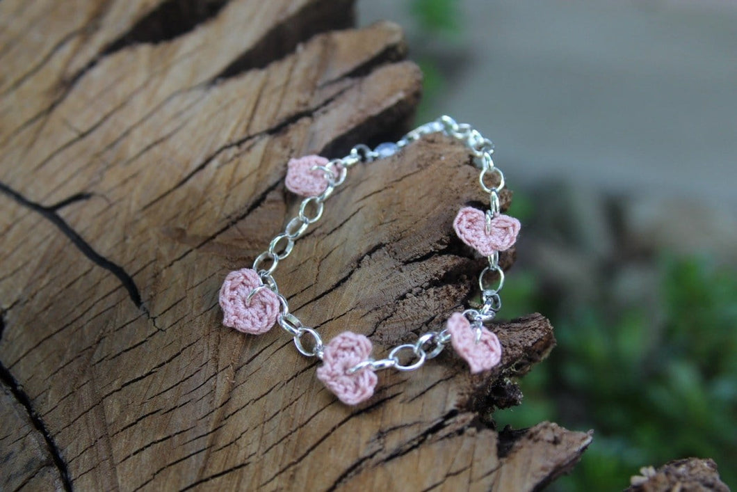 Cotton Crochet Five Heart Bracelet. 2nd wedding anniversary gift.