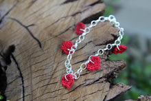 Load image into Gallery viewer, Red Cotton Crochet Five Heart Bracelet. 2nd wedding anniversary gift.