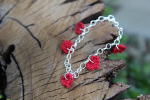 Red Cotton Crochet Five Heart Bracelet. 2nd wedding anniversary gift.