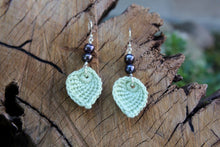 Load image into Gallery viewer,  2nd anniversary earrings - green leaf with pearls