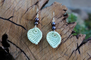 2nd anniversary earrings - green leaf with pearls