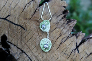 Green leaves necklace with pearls 2nd wedding anniversary gift