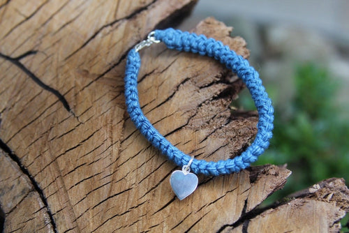 2nd anniversary cotton bracelet - denim with silver heart tag