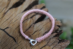 Pink silver heart bracelet 2nd wedding anniversary gift