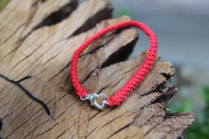Red silver heart bracelet 2nd wedding anniversary gift