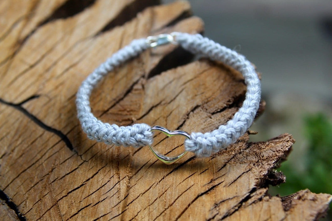2nd anniversary cotton bracelet - grey with large silver heart