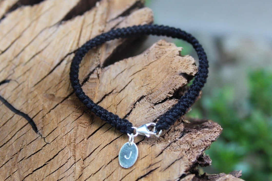 2nd anniversary cotton bracelet - black with personalised tag