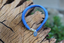 Load image into Gallery viewer, 2nd anniversary cotton bracelet - blue with personalised tag