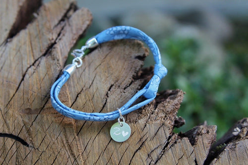 2nd anniversary cotton bracelet - liberty of london blue with engraved tag