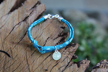 Load image into Gallery viewer, 2nd anniversary cotton bracelet - liberty of london turquoise with engraved tag