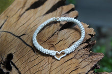 Load image into Gallery viewer, Cotton Crochet Lopsided Silver Heart Bracelet. 2nd wedding anniversary gift.