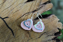 Load image into Gallery viewer, 2nd anniversary cotton earrings - pink heart and silver open heart