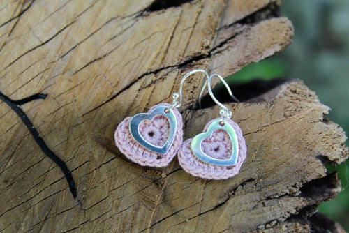 PInk open silver heart earrings 2nd wedding anniversary gift