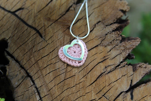 2nd anniversary cotton necklace - pink heart with open silver heart