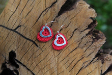 Load image into Gallery viewer, 2nd anniversary cotton earrings - red heart and silver open heart