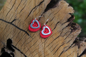2nd anniversary cotton earrings - red heart and silver open heart