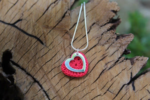 2nd anniversary cotton necklace - red heart with open silver heart
