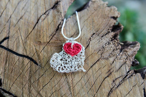 2nd anniversary necklace - silver wire heart with read cotton heart