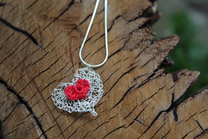 Silver wire red heart necklace 2nd wedding anniversary gift
