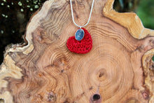Load image into Gallery viewer, Red cotton heart necklace stamped 2nd wedding anniversary gift