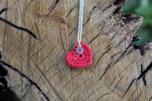 2nd anniversary necklace - red tiny heart with tag