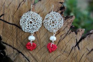 2nd anniversary earrings - silver wire round earrings with red cotton heart