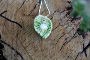 2nd anniversary necklace - cotton green leaf and pearl