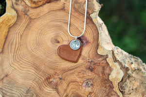 Bronze leather heart necklace. 3rd wedding anniversary gift.