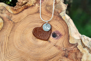 Brown leather heart necklace. 3rd wedding anniversary gift.