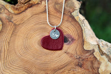 Load image into Gallery viewer, Red leather heart necklace. 3rd wedding anniversary gift.