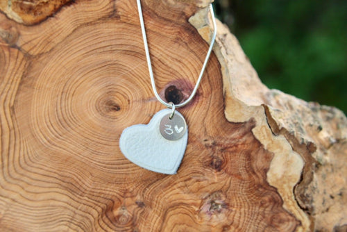 3rd anniversary leather necklace -white heart with tag