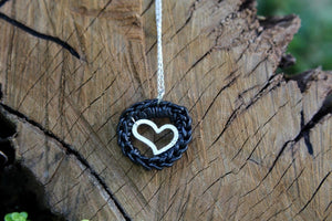 Leather and Silver Heart Necklace