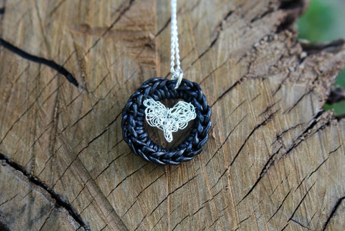 3rd anniversary leather necklace - black circle and silver wire crochet heart