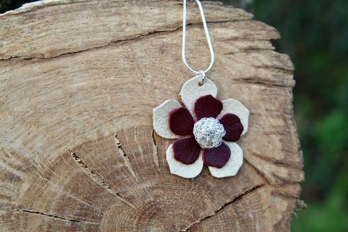 3rd anniversary necklace - leather flower with silver wire crochet centre