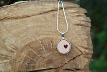 Load image into Gallery viewer, 3rd anniversary leather necklace - round pendant with little heart natural leather