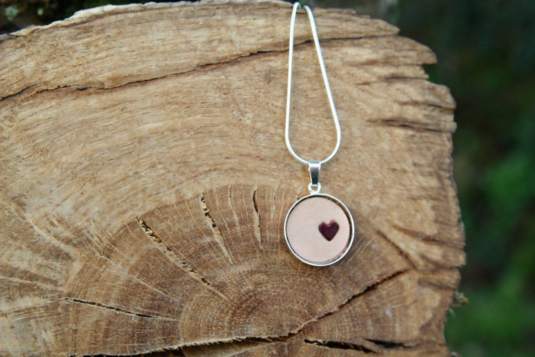 3rd anniversary leather necklace - round pendant with little heart natural leather