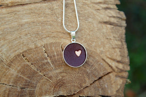3rd anniversary leather necklace - round pendant with little heart dark red leather