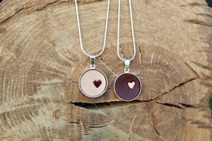 3rd anniversary leather necklace - round pendant with little heart