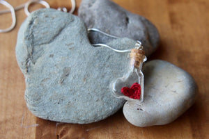 2nd  anniversary necklace - red heart in bottle