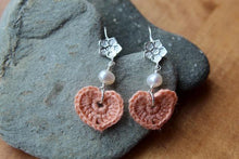 Load image into Gallery viewer, 4th anniversary linen earrings - flower wire pink with white pearls