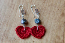 Load image into Gallery viewer, 4th anniversary linen earrings - flower wire red with grey pearls