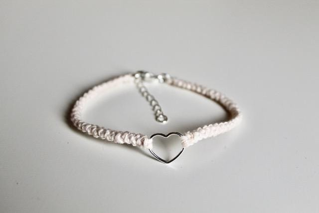 4th anniversary bracelets - tiny heart cream linen bracelet