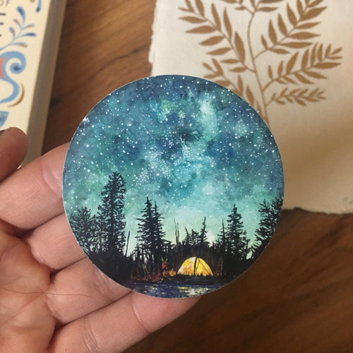 Watercolour Camping Paper Sticker