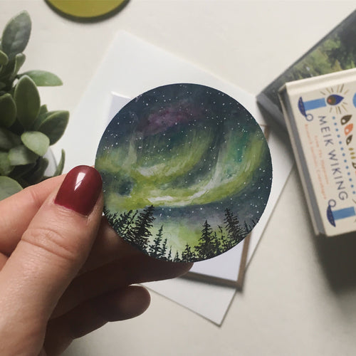 Watercolour Northern Lights Paper Sticker