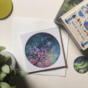 Cherry Blossom Blank Greetings Card
