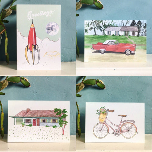 1950s Notecards - Pack of 4